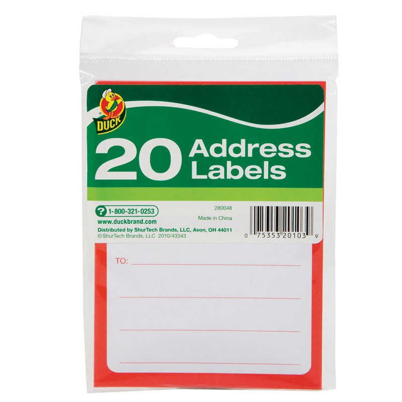 Duck Brand  3-1/2 in. W x 4-1/2  L Address Labels