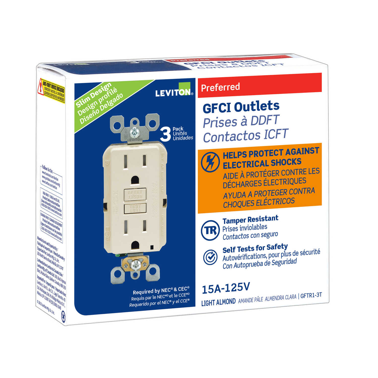 Leviton  15 amps 125 volt Light Almond  GFCI Outlet  5-15R  3 pk