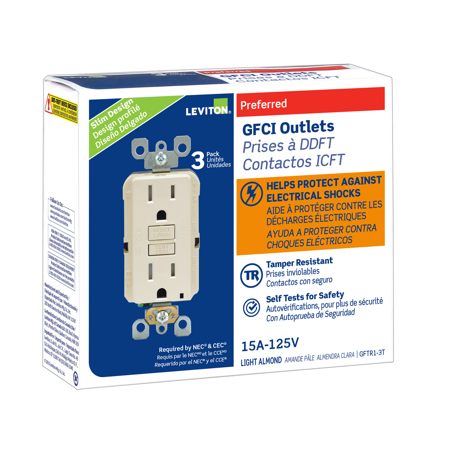 Leviton 15 Amps 125 Volt Light Almond Gfci Outlet 5