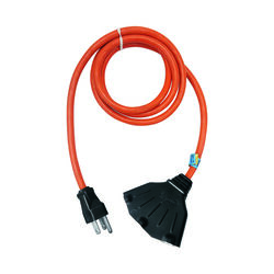 Ace  Indoor or Outdoor  10 ft. L Orange  Triple Outlet Cord  12/3 SJTW
