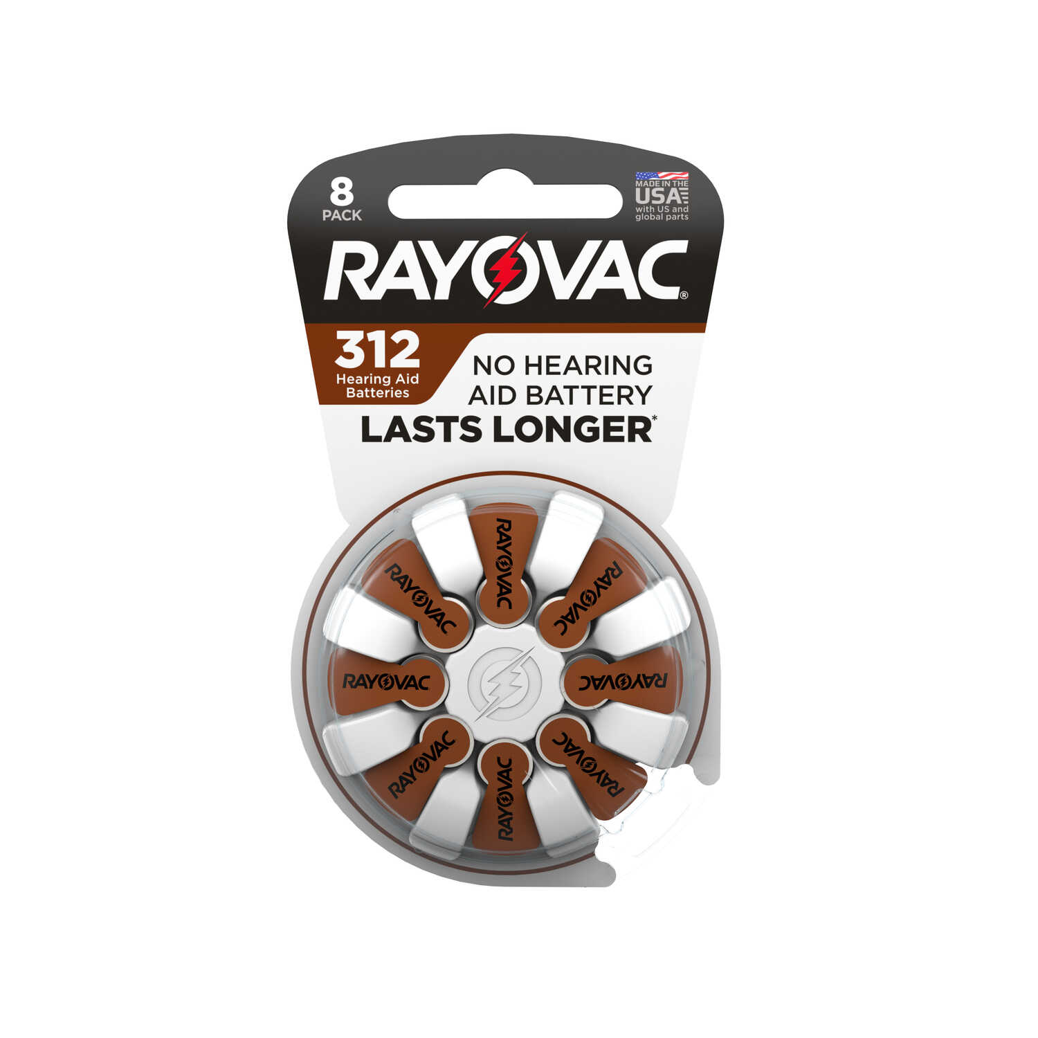 Rayovac  Zinc-Air  312  1.45 volt Hearing Aid Battery  8 pk