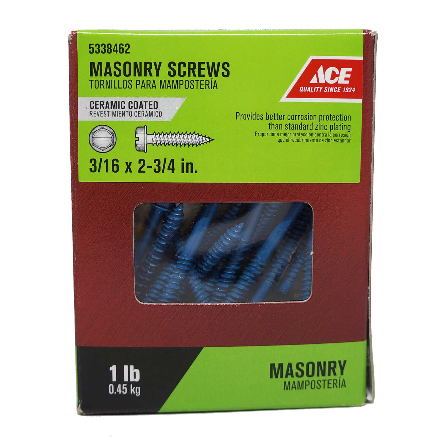 Ace  3/16 in.   x 2-3/4 in. L Slotted  Hex Washer Head Ceramic  Steel  Masonry Screws  1 lb.