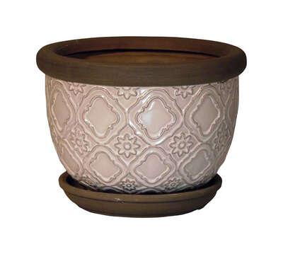 Trendspot 6 In H X 6 In W Ceramic Medallion Planter