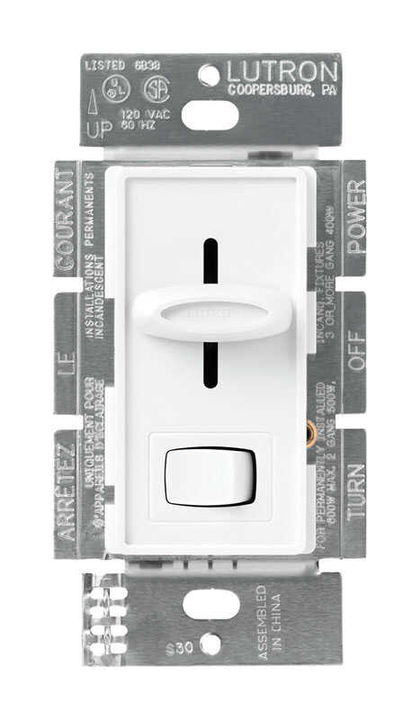 Lutron  Skylark  White  600 watts Slide  Dimmer Switch  1 pk