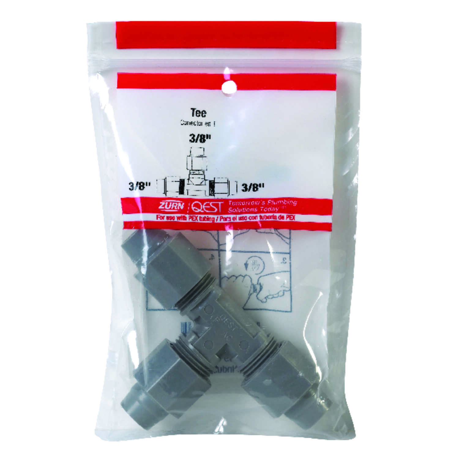 Zurn  3/8 in. CTS   x 3/8 in. Dia. CTS  Polybutylene  Tee