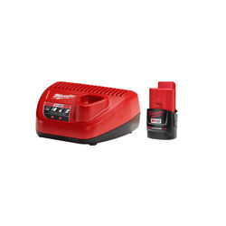 Milwaukee  M12 REDLITHIUM  CP2.0  12 volt Lithium-Ion  Battery and Charger  2 pc.
