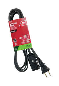 Ace  18/2 HPN  125 volt 6 ft. L Appliance Cord
