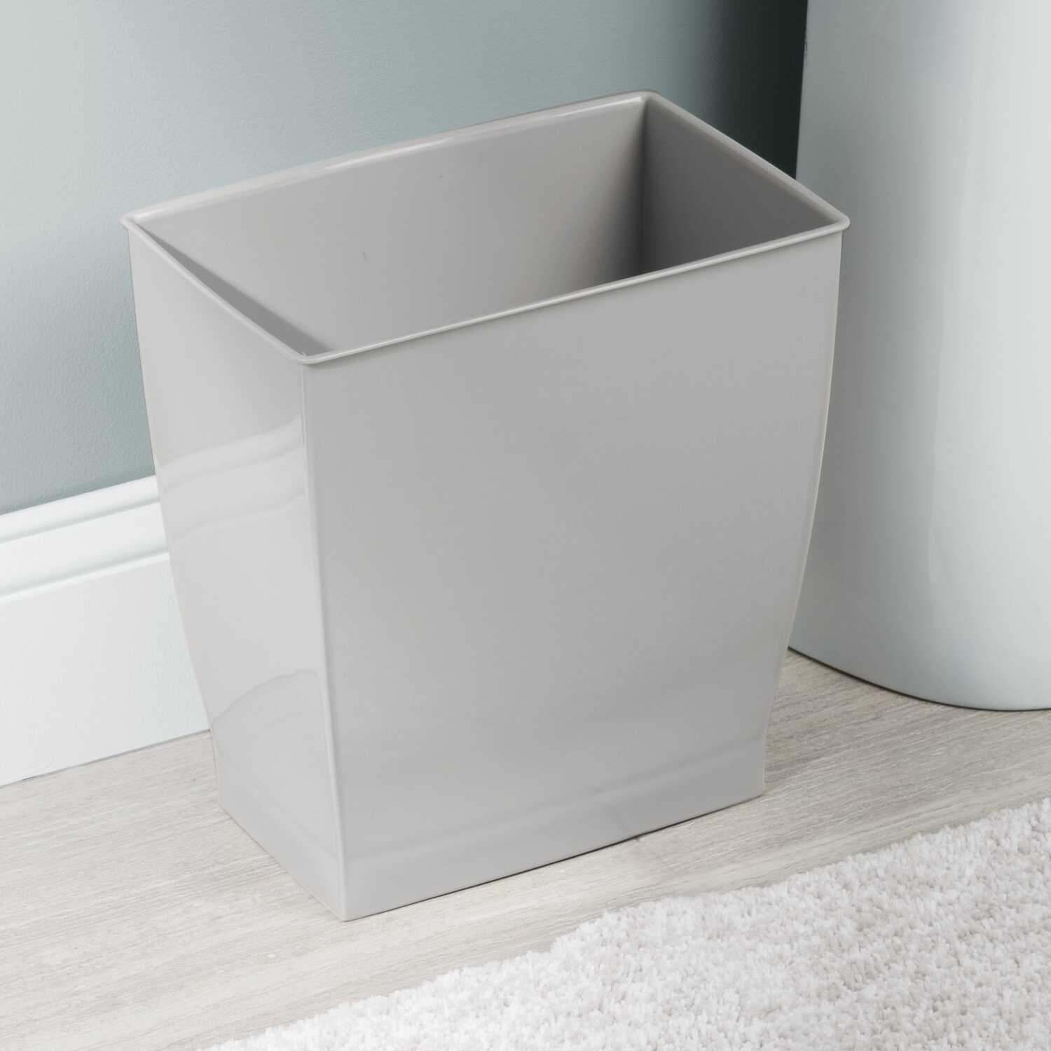InterDesign  Mono  Gray  Rectangular  Wastebasket