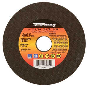 Forney  Aluminum Oxide  5 in. Metal Cut-Off Wheel  1/16 in. thick  x 7/8 in.  1 pc.