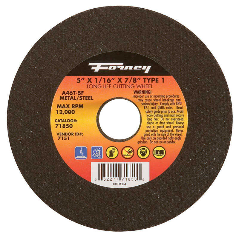 Forney  5 in. Aluminum Oxide  Metal Cut-Off Wheel  1/16 in. thick  x 7/8 in.  1 pc.