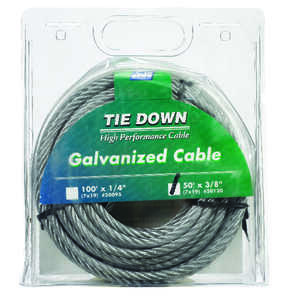 Tie Down Engineering  Galvanized  Galvanized Steel  3/8 in. Dia. x 50 ft. L Aircraft Cable
