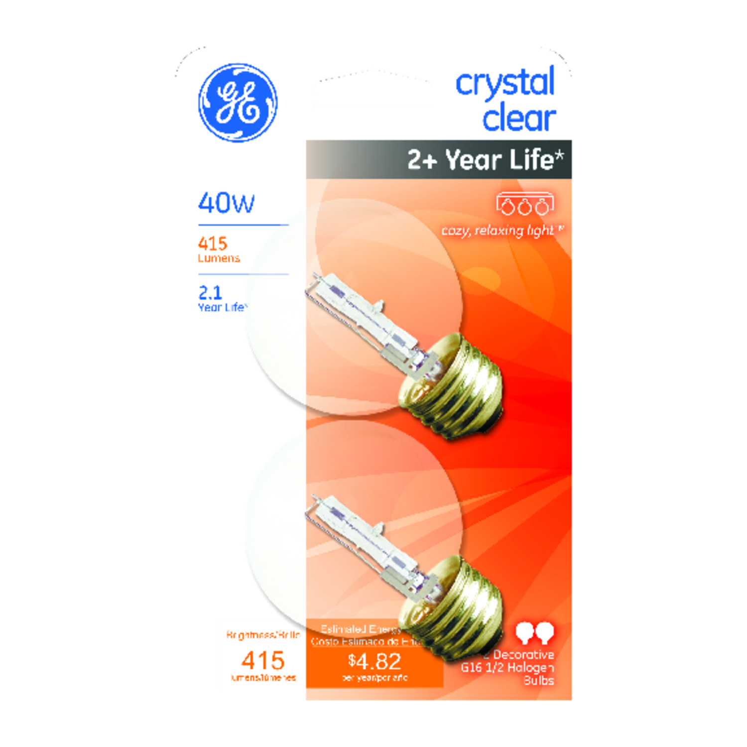 GE Lighting  Edison  40 watts A19  Halogen Bulb  415 lumens Warm White  2 pk Medium Base (E26)  Glob