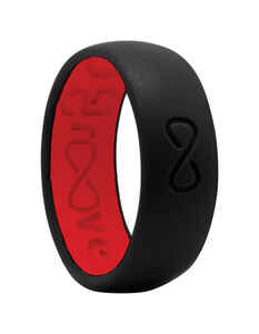 Groove Life  Unisex  Round  Midnight Black/Raspberry Red  Wedding Band  Silicone  Water Resistant