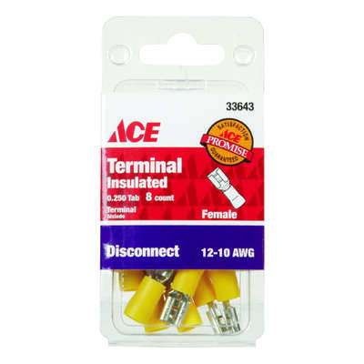 Ace Insulated Wire Female Disconnect Yellow 8 pk