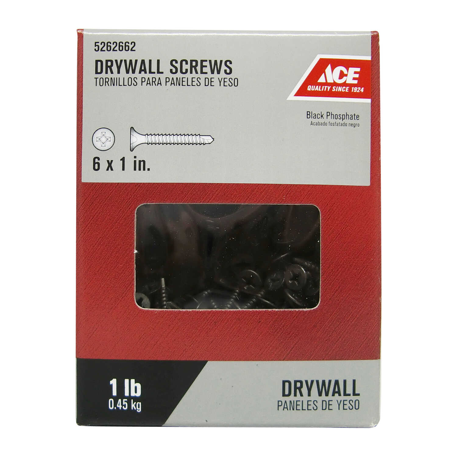 Ace  No. 6   x 1 in. L Phillips  Bugle Head Black Phosphate  Steel  Drywall Screws  1 lb. 302 pk