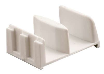 Prime-Line  5.4 in. H x 1-9/16 in. W White  Frameless  Shower Door Bottom Guide