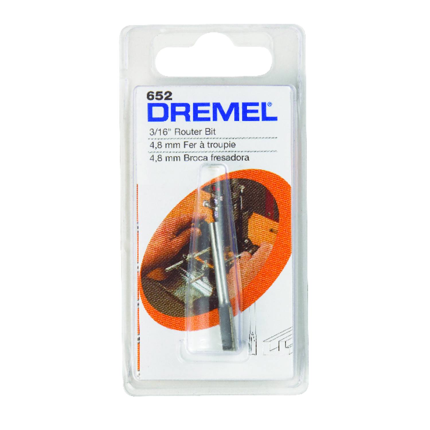 Dremel  3/16 in. Dia. x 3/16 in.  x 3 in. L x 3/16 in. Dia. High Speed Steel  Router Bit  1-Flute St