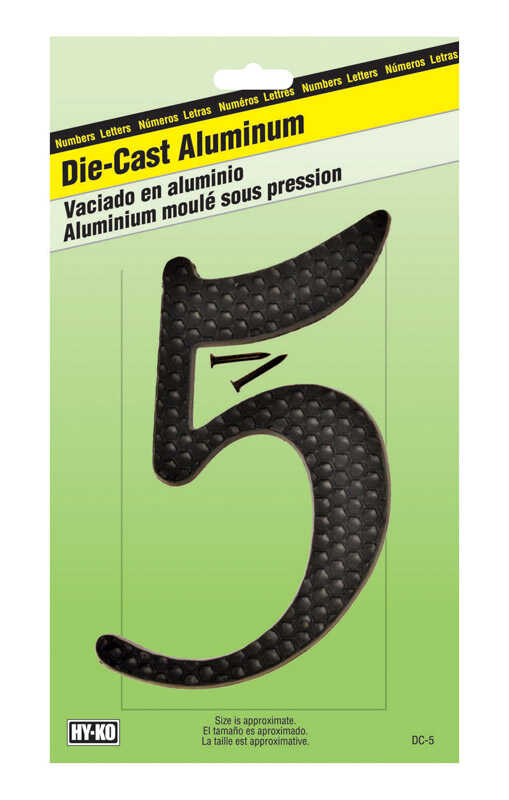 Hy-Ko  4-1/2 in. Aluminum  5  Number  Black  Nail-On