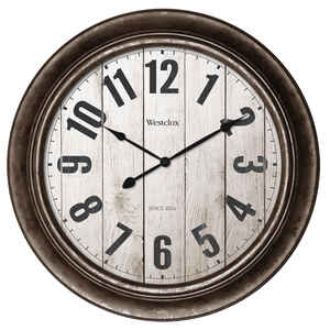Westclox  15-1/2 in. L x 15-1/2 in. W Indoor  Classic  Analog  Wall Clock  Glass/Plastic  Brown