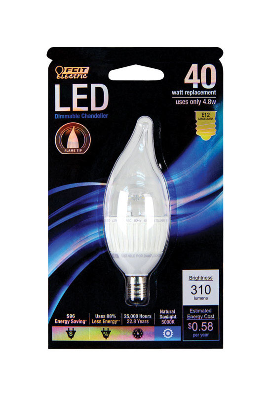 FEIT Electric  4.8 watts CA10  LED Bulb  310 lumens Daylight  Chandelier  40 Watt Equivalence