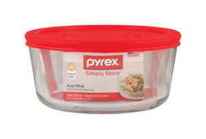 Pyrex  4 cups Food Storage Container  1 pk Clear/Red
