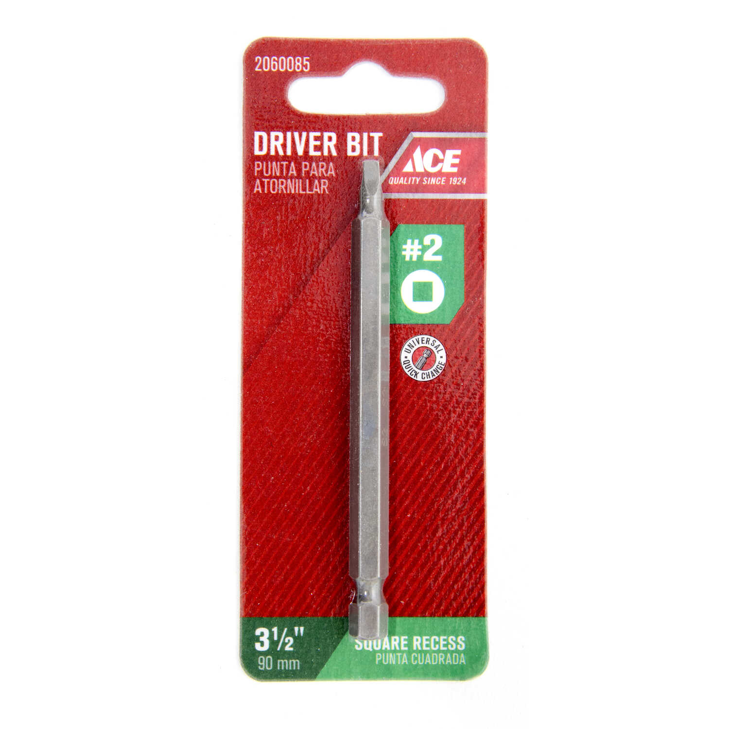 Ace  Square Recess  #2   x 3-1/2 in. L Screwdriver Bit  S2 Tool Steel  1/4 in. Quick-Change Hex Shan