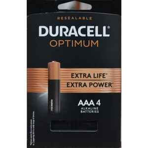 Duracell  Optimum  AAA  Alkaline  Batteries  4 pk Carded