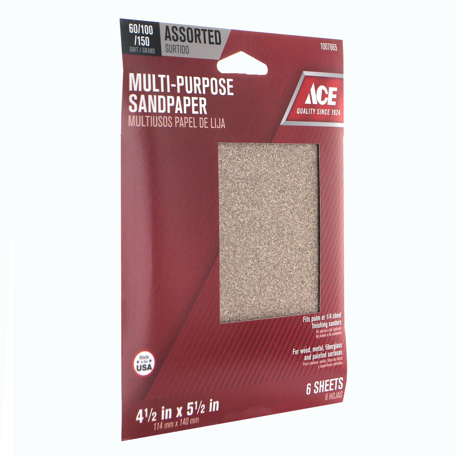 Ace  5-1/2 in. L x 4-1/2 in. W Assorted  Aluminum Oxide  1/4 Sheet Sandpaper  6 pk Assorted Grit