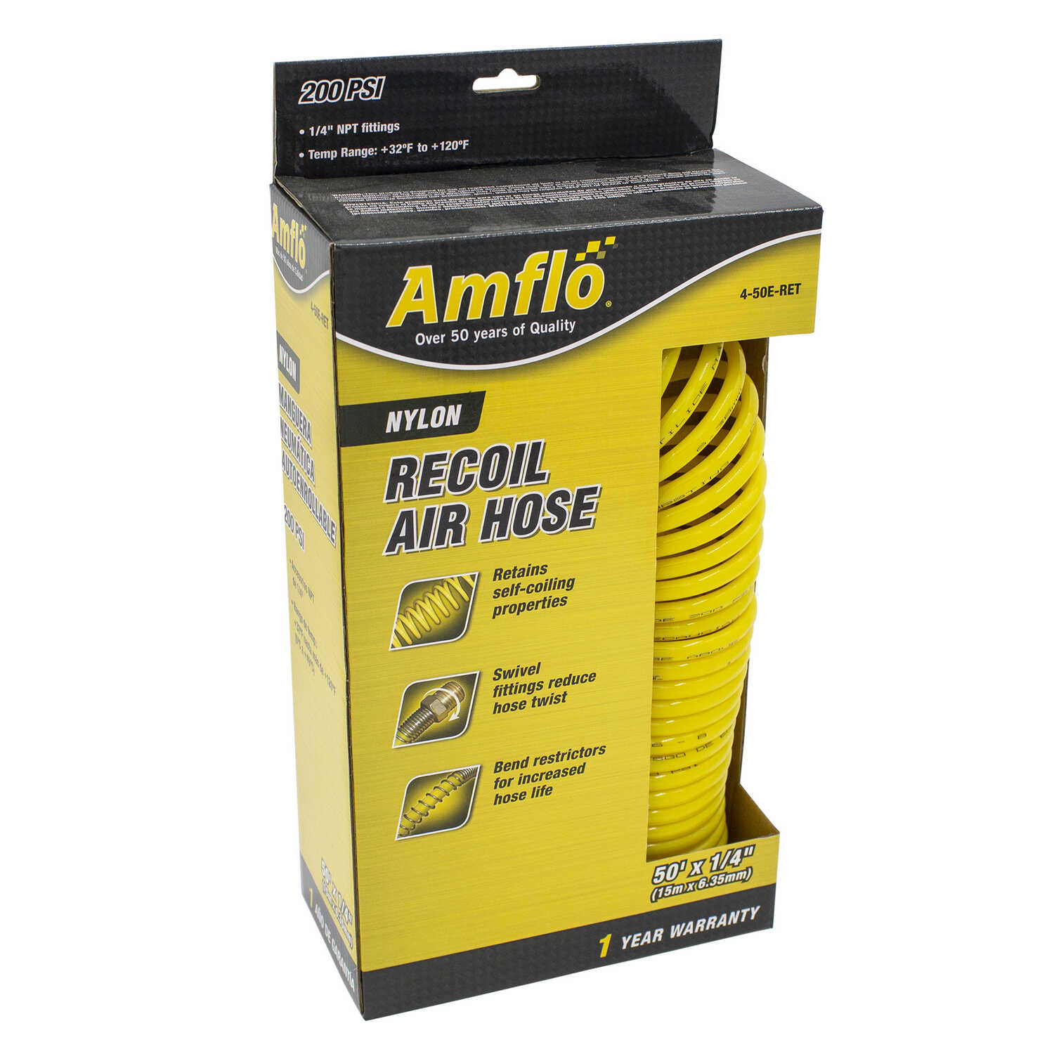 Amflo  50 ft. L x 1/4 in.  Recoil Air Hose  Nylon  200 psi Yellow