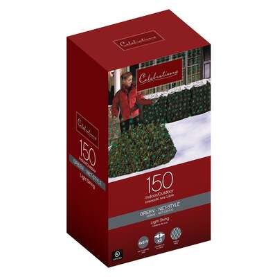 Celebrations  Incandescent  Green  150 count Net  Christmas Lights  24 ft.