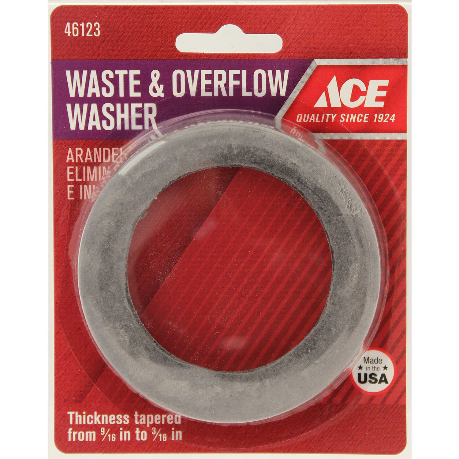 Ace  1-7/8 in. Dia. Rubber  Waste and Overflow Washer  1