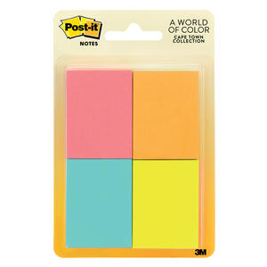 Post-It  1.5 in. W x 2 in. L Assorted  Sticky Notes  4 pad