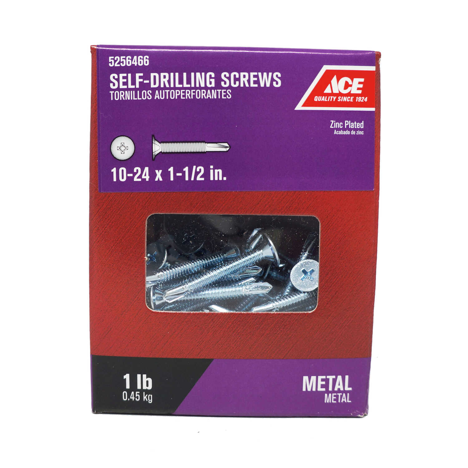 Ace  1-1/2 in. L x 10 Sizes  Zinc-Plated  Steel  Self- Drilling Screws  1 lb. Wafer Head Phillips