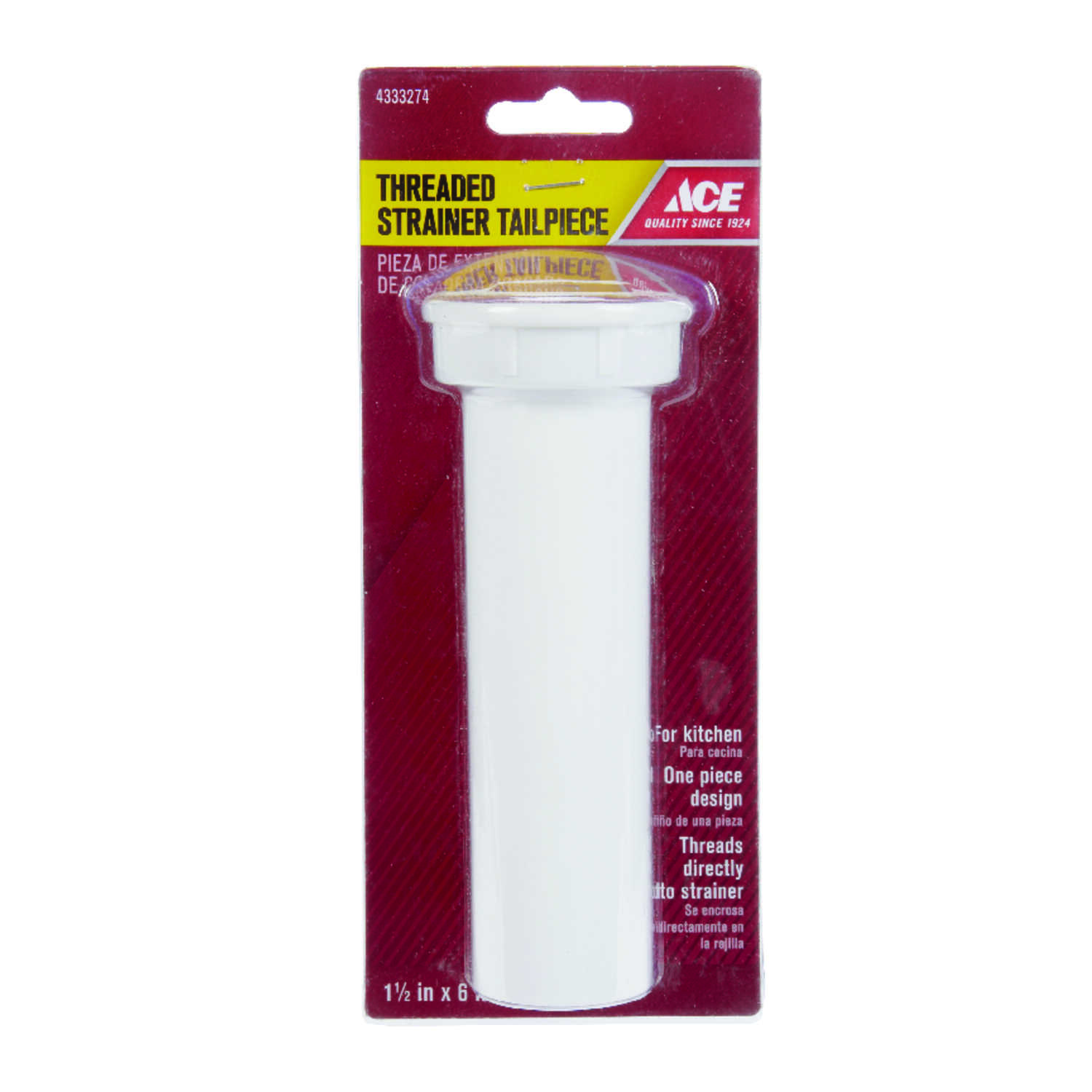 Ace  1-1/2 in. Dia. x 6 in. L Plastic  Tailpiece