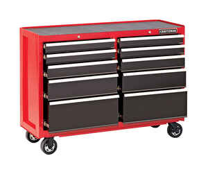 Craftsman  52 in. Steel  10 drawer 37.5 in. H x 18 in. D Red  Rolling Tool Cart