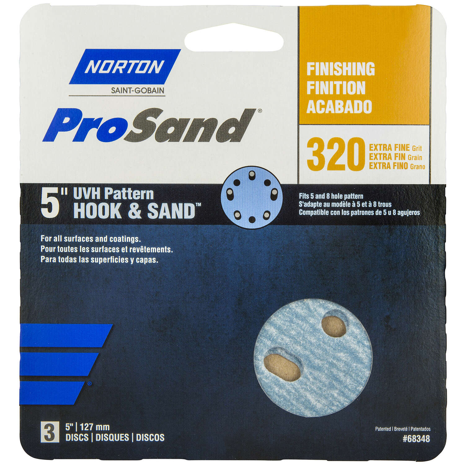 Norton  ProSand  5 in. Ceramic Alumina  Hook and Loop  Sanding Disc  320 Grit Extra Fine  3 pk