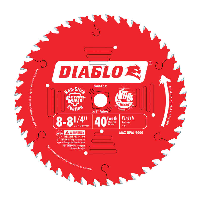 Diablo  8-1/4 in. Dia. x 5/8 in.  x 0.094 in. thick  Carbide Tip  Finishing Saw Blade  40 teeth 1 pc