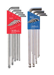 Eklind Bright-Ball-Hex-L Assorted Metric and SAE Extra Long Ball End Hex Key Set Multi-Size in