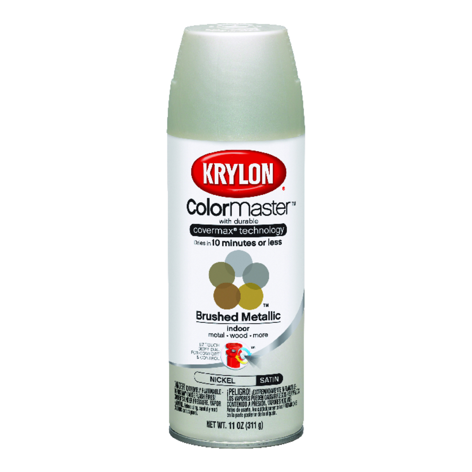 Krylon  ColorMaster  Matte  Nickel  Metallic Spray Paint  11 oz.