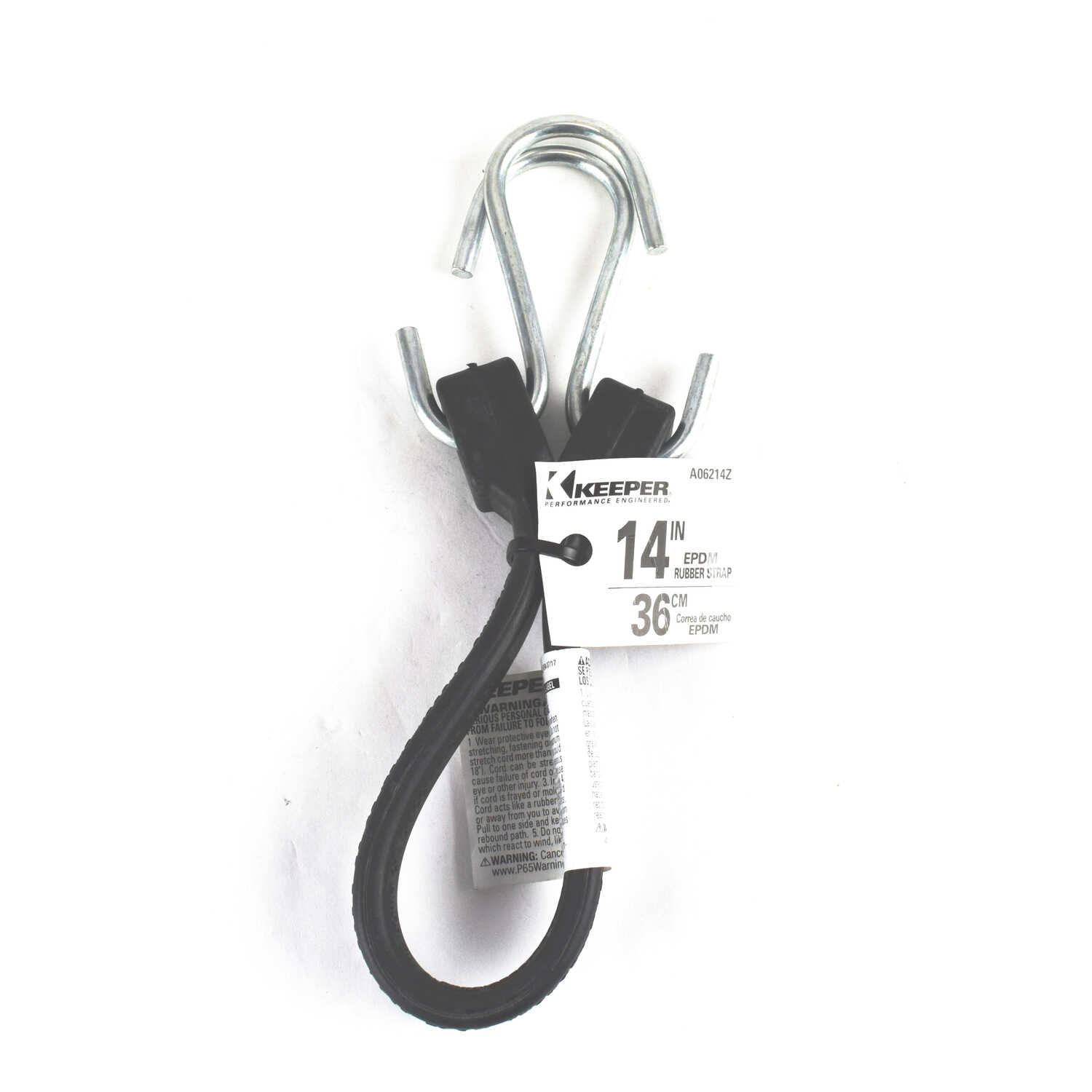 Keeper  14 in. L Black  Rubber Tarp Strap  S Hooks