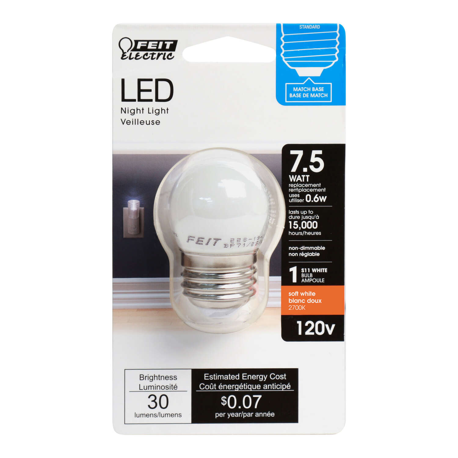 Feit Electric S11 E26 (Medium) LED Bulb Soft White 7.5 Watt Equivalence 1 pk