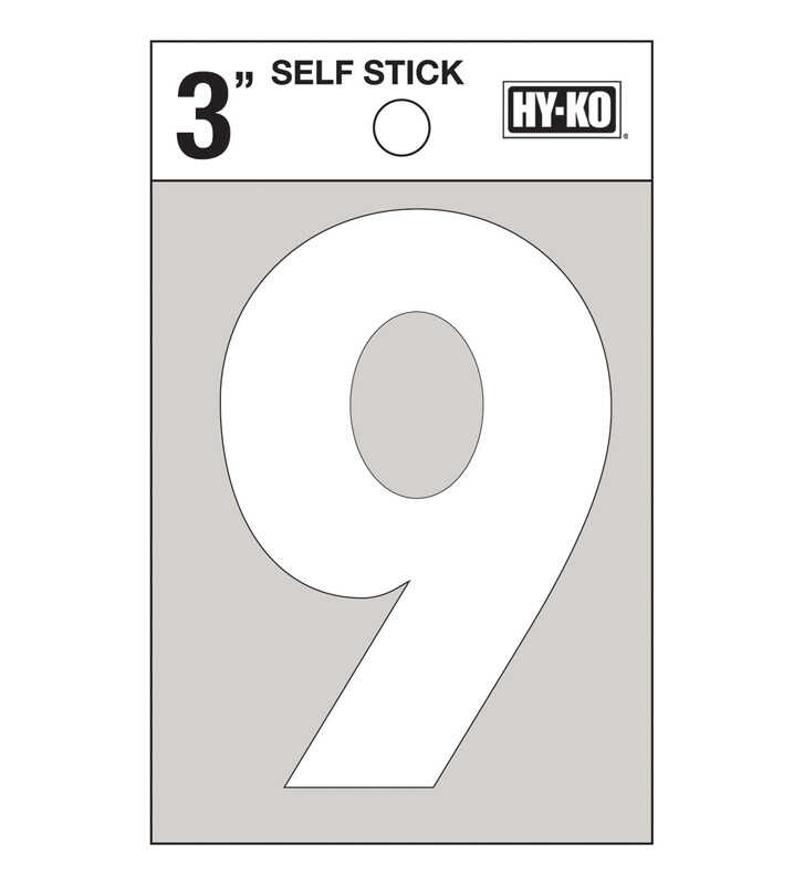 Hy-Ko  3 in. Reflective White  Vinyl  Number  9  Self-Adhesive  1 pc.