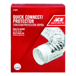 Ace  4 in. to 4 in. White  Duct Protector  Plastic