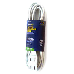Projex  Indoor  12 ft. L White  Extension Cord  16/2 SPT-2