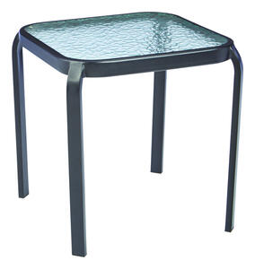 Living Accents  Black  Square  Glass  End Table