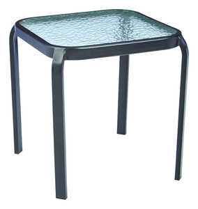 Living Accents  Square Glass  Black  Metropolitan  Round  End Table
