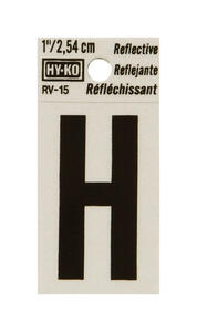 Hy-Ko  1 in. Reflective Black  Vinyl  Letter  H  Self-Adhesive  1 pc.