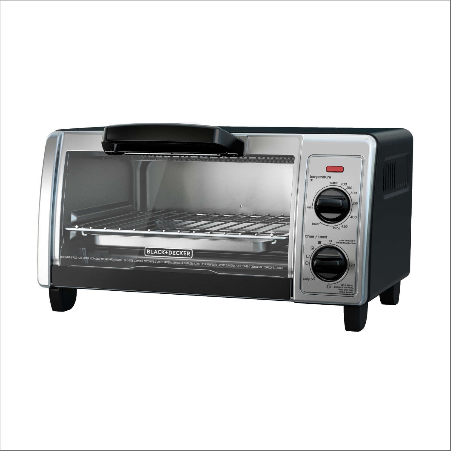 Black and Decker  Stainless Steel  Black/Silver  4 slot Convection Toaster Oven  9 in. H x 16.9 in.
