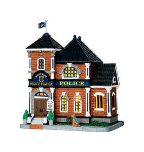 Lemax  West Side Police Station  Village Building  Brown  Resin  1 each