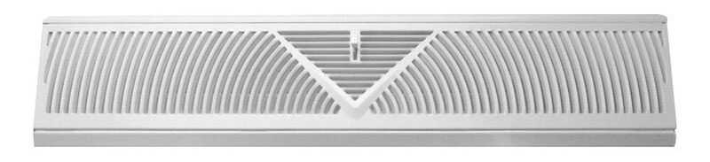 Tru Aire  4.5 in. H x 2-3/4 in. D 3-Way  Powder Coat  White  Steel  Floor Baseboard Diffuser